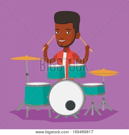 An african-american mucisian playing on drums. Man playing on drums. Smiling young man playing on drum kit. Happy man sitting behind the drum kit. Vector flat design illustration. Square layout.
