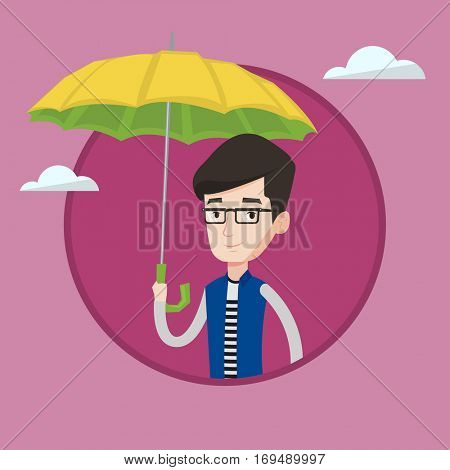 Caucasian cheerful insurance agent. Insurance agent standing safely under umbrella. Business insurance and protection concept. Vector flat design illustration in the circle isolated on background.
