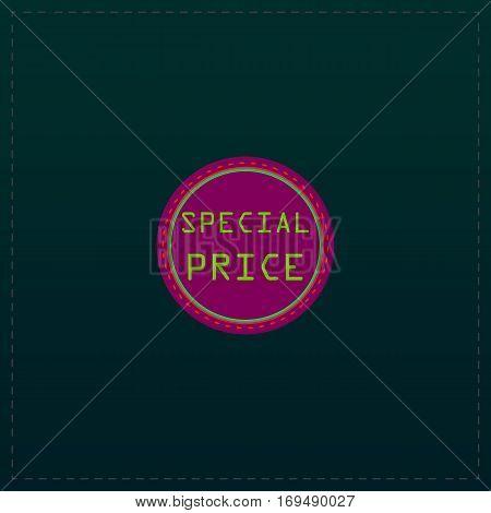 Special Badge, Label or Sticker. Color symbol icon on black background. Vector illustration