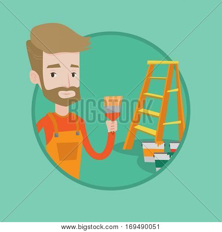 Painter holding a paintbrush. Man with paintbrush in hand standing near step-ladder and paint cans. Concept of house renovation. Vector flat design illustration in the circle isolated on background.