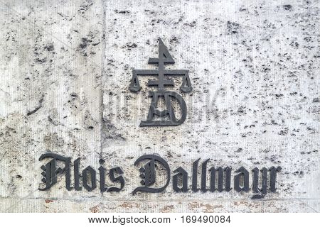 Munich, Germany - August 6, 2016: The sign of Alois Dallmayr Coffee and Food Store located near Marienplatz in Munich