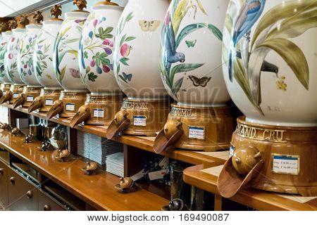 Munich, Germany - August 6, 2016: Showcase with different varieties of coffee in the Alois Dallmayr. Coffee and Food Store located near Marienplatz in Munich