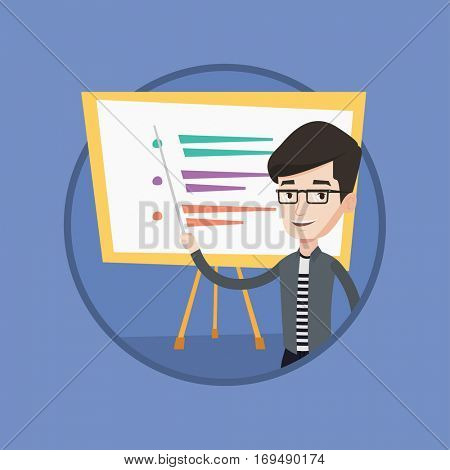 Happy caucasian teacher or student holding pointer. Young teacher with a pointer standing in front of board. Concept of education. Vector flat design illustration in the circle isolated on background.