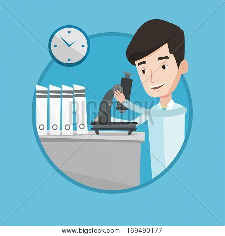 Cheerful male laboratory assistant working with microscope at the laboratory. Young scientist using a microscope in a laboratory. Vector flat design illustration in the circle isolated on background.