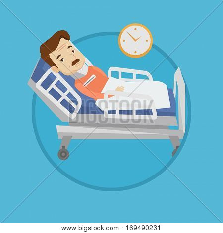 An adult man wearing cervical collar and suffering from neck pain. Patient with injured neck lying in bed. Man with neck brace. Vector flat design illustration in the circle isolated on background.