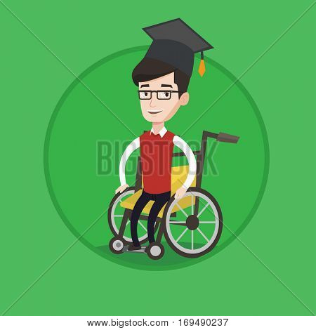Smiling caucasian student sitting in wheelchair. Disabled cheerful graduate in graduation cap using wheelchair. Vector flat design illustration in the circle isolated on background.