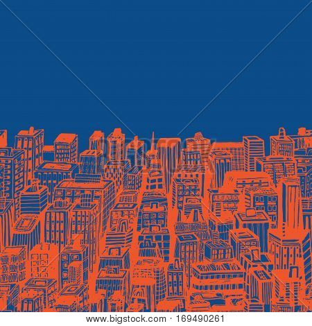 Seamless background banners of big city with skyscrapers. Hand drawn Vintage illustration with New York city NYC, cityscape with panoramic view of architecture, skyscrapers, megapolis, buildings, downtown.