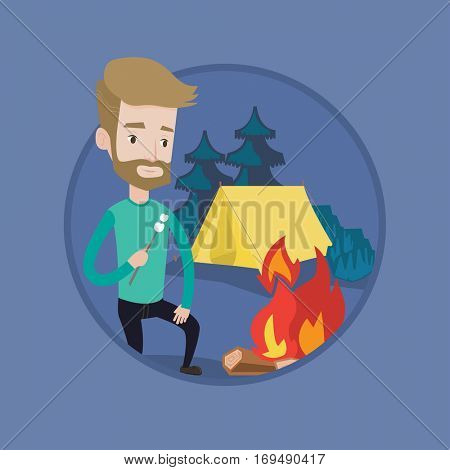 Hipster man with beard sitting near campfire. Caucasian man roasting marshmallow over campfire. Tourist relaxing near campfire. Vector flat design illustration in the circle isolated on background.