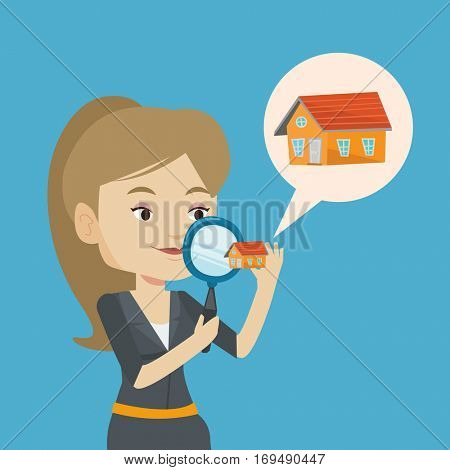 Caucasian woman looking for a new house in real estate market. Young woman using a magnifying glass for seeking a new housein real estate market. Vector flat design illustration. Square layout.