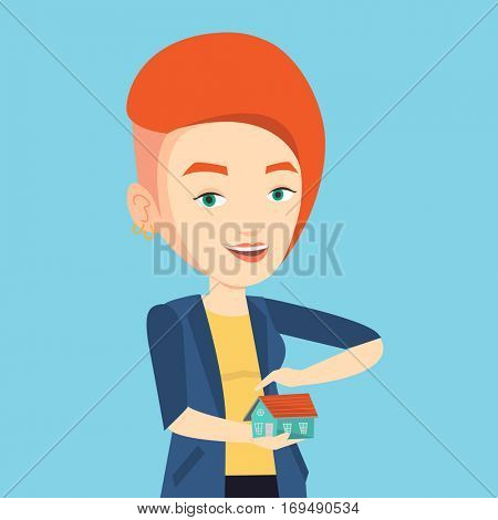 Caucasian insurance agent holding house model. Insurance agent protecting model of the house. Property insurance concept. Young woman insuring house. Vector flat design illustration. Square layout.