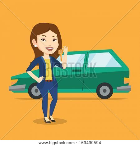 Young caucasian woman holding keys to her new car. Happy woman showing key to her new car. Smiling woman standing on the backgrond of her new car. Vector flat design illustration. Square layout.