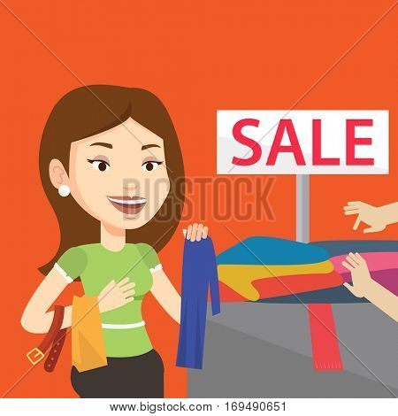 Caucasian woman choosing clothes in shop on sale. Happy female customer buying clothes at store on sale. Young girl shopping in clothes shop on sale. Vector flat design illustration. Square layout.
