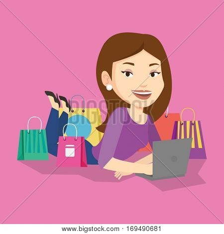 Young caucasian woman using laptop for online shopping. Smiling woman lying with laptop and making online shopping order. Woman doing online shopping. Vector flat design illustration. Square layout.