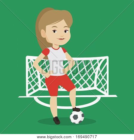 Young caucasian sportswoman standing with football ball on the stadium. Professional female football player standing with a soccer ball on the field. Vector flat design illustration. Square layout.