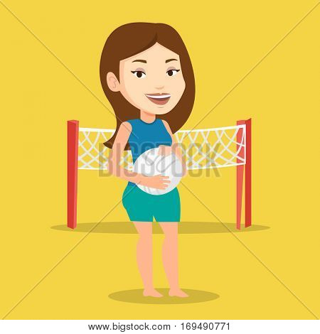 Young caucasian sportswoman holding volleyball ball in hands. Sportive female beach volleyball player standing on a background of volleyball net. Vector flat design illustration. Square layout.