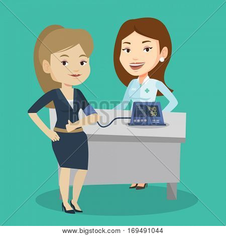 Young caucasain woman checking blood pressure with digital blood pressure meter. Happy woman giving thumb up while doctor measuring her blood pressure. Vector flat design illustration. Square layout