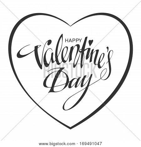 Happy Valentines day Hand Drawn lettering. Background, poster, template. Valentines Day greeting card design. Handwritten calligraphy text in frame of heart. 14 February concept. Vector illustration