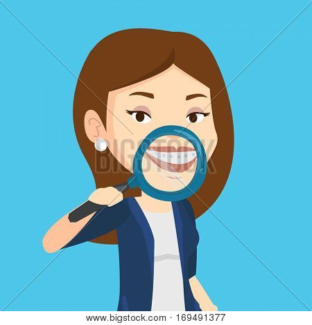 Smiling young woman holding a magnifying glass in front of her teeth. Caucasian woman examining her teeth with magnifier. Concept of teeth examining. Vector flat design illustration. Square layout.