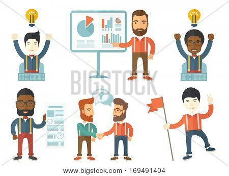 Happy young leader businessman holding a red flag. Businessman leader showing peace sign. Cheerful winner and leader concept. Set of vector flat design illustrations isolated on white background.