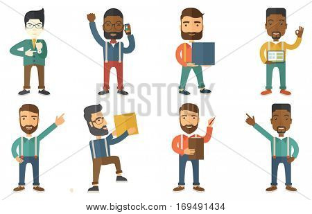 Angry employer pointing on time at wrist watch. Boss checking time of coming of latecomer employee. Late to work and time management concept. Set of vector illustrations isolated on white background.