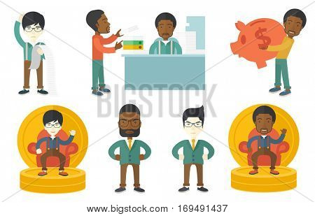 Businessman standing with a long bill in hands. Disappointed businessman holding long bill. Businessman looking at long bill. Set of vector flat design illustrations isolated on white background.