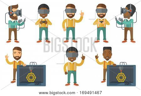 Man wearing virtual relaity headset. Gamer in virtual reality headset playing video games. Man in gamer gloves playing video game. Set of vector flat design illustrations isolated on white background.