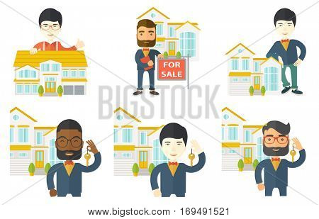 Young real estate agent holding house key. Real estate agent showing keys in front of house. New owner of a house with key in hand. Set of vector flat design illustrations isolated on white background