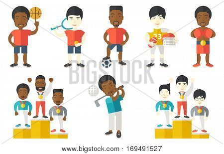 Sportsman celebrating on the winners podium. Man with gold medal and hands raised standing on the winners podium. Winner concept. Set of vector flat design illustrations isolated on white background.