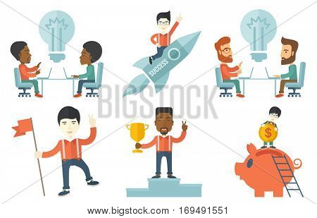Young business people brainstorming in office. Business team using laptops during brainstorming process. Brainstorming concept. Set of vector flat design illustrations isolated on white background.
