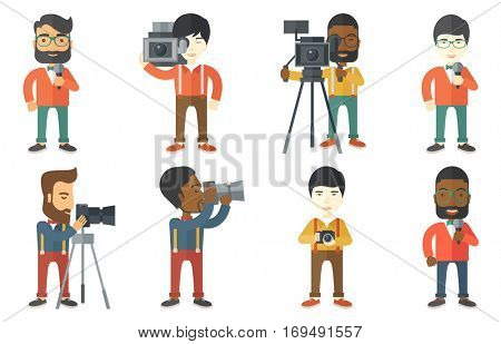 Cheerful TV reporter with microphone. Young smiling TV reporter in suit presenting the news. TV transmission with a reporter. Set of vector flat design illustrations isolated on white background.