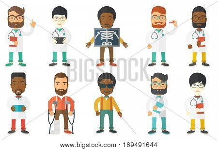 Young doctor using tablet computer at work. Doctor working on modern digital tablet. Smiling doctor holding tablet computer. Set of vector flat design illustrations isolated on white background.
