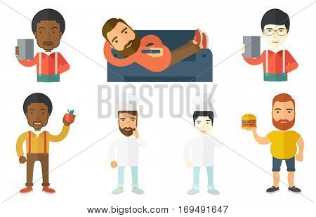 Creative chief-cook pointing finger up. Chief-cook in uniform thinking about the recipe. Chief-cook came up with idea for recipe. Set of vector flat design illustrations isolated on white background.
