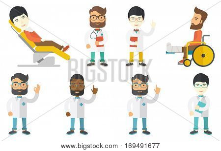 Doctor with stethoscope and folder. Doctor carrying folder of patient information. Doctor holding folder with medical information. Set of vector flat design illustrations isolated on white background.