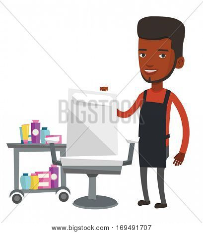 African-american barber standing near armchair and table with cosmetics in barbershop. Young barber standing at workplace in barbershop. Vector flat design illustration isolated on white background.