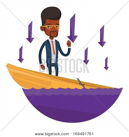 Business man standing in sinking boat and asking for help. Business man sinking and arrows behind him symbolizing business bankruptcy. Vector flat design illustration isolated on white background. poster