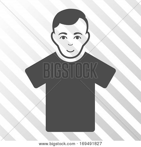 Gray Guy interface pictogram. Vector pictograph style is a flat symbol on diagonally hatched transparent background.