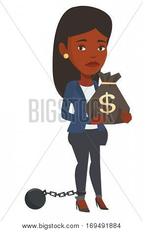 Chained african business woman holding bag full of taxes. Upset taxpayer holding bag with dollar sign. Concept of tax time and taxpayer. Vector flat design illustration isolated on white background.
