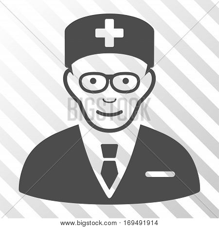 Gray Head Physician interface toolbar pictogram. Vector pictograph style is a flat symbol on diagonally hatched transparent background.