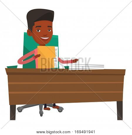 An african office worker working with documents. Office worker sitting at the table with documents. Office worker inspecting documents. Vector flat design illustration isolated on white background.