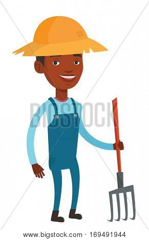 African-american farmer holding a pitchfork. Happy farmer in summer hat standing with a pitchfork. Young farmer working with a pitchfork. Vector flat design illustration isolated on white background.