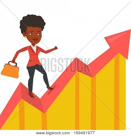 African successful businesswoman running on profit chart. Cheerful businesswoman walking along the profit chart. Business profit concept. Vector flat design illustration isolated on white background.
