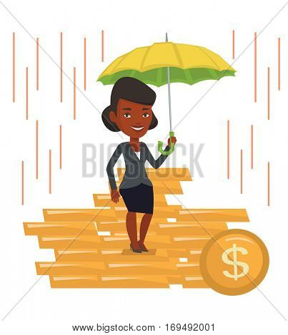 Business woman insurance agent. Insurance agent holding umbrella over golden coins. Business insurance and business protection concept. Vector flat design illustration isolated on white background.