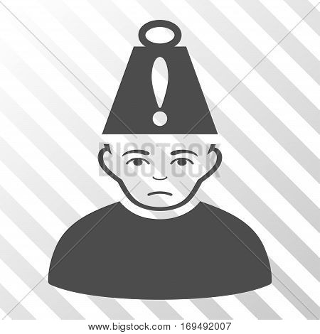 Gray Head Stress interface icon. Vector pictograph style is a flat symbol on diagonal hatch transparent background.