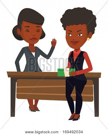 African-american young businesswoman giving a bribe. Uncorrupted businesswoman refusing to take a bribe. Bribery and corruption concept. Vector flat design illustration isolated on white background.