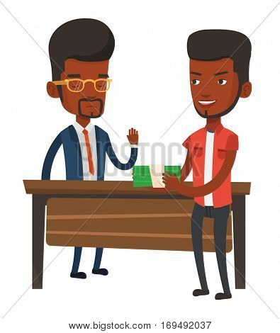 An african-american young businessman giving a bribe. Uncorrupted businessman refusing to take a bribe. Bribery and corruption concept. Vector flat design illustration isolated on white background.