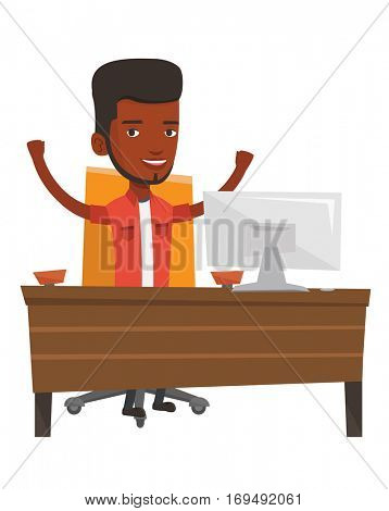 African successful businessman celebrating at workplace. Successful businessman celebrating business success. Successful business concept. Vector flat design illustration isolated on white background.