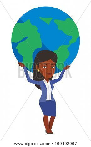 African business woman holding big Earth globe over her head. Businesswoman taking part in global business. Concept of global business. Vector flat design illustration isolated on white background.