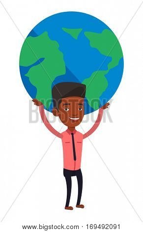 African businessman holding big Earth globe over his head. Happy businessman taking part in global business. Concept of global business. Vector flat design illustration isolated on white background.