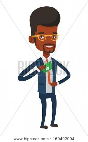African business man putting money bribe in her pocket. Young business man hiding money bribe in pocket. Bribery and corruption concept. Vector flat design illustration isolated on white background.