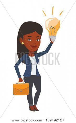 African businesswoman with a briefcase pointing at business idea light bulb. Woman having business idea. Successful business idea concept. Vector flat design illustration isolated on white background.